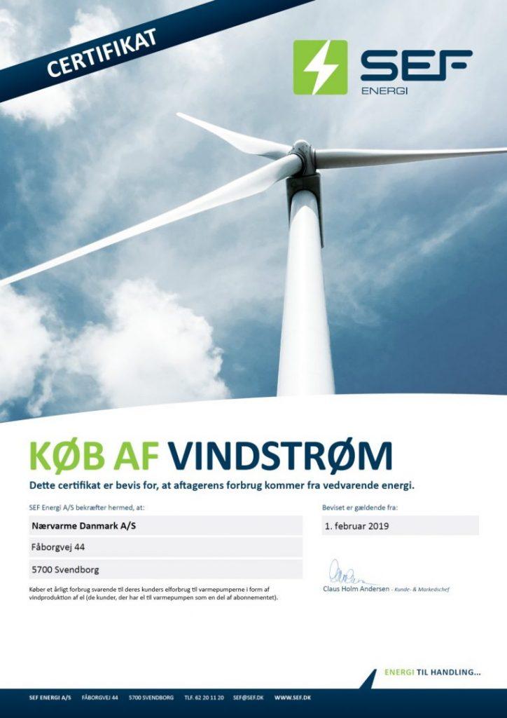 Nærvarme Danmark indkøber el fra vindstrøm svarende til kunders forbrug af el til varmepumperne, såfremt de har el som en del af abonnementet.