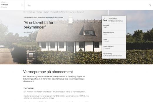 Energistyrelsen taler med en af Nærvarme Danmarks kunder om vores varmepumpe på abonnement.